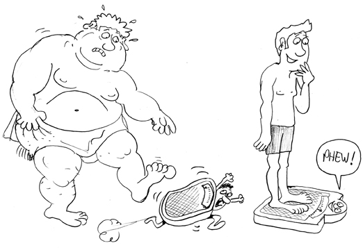 weight loss motivation, Cartoon of weighing scales running away from heavy/fat person