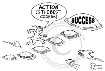 Cartoon of guy running across stepping stones to get to SUCCESS!