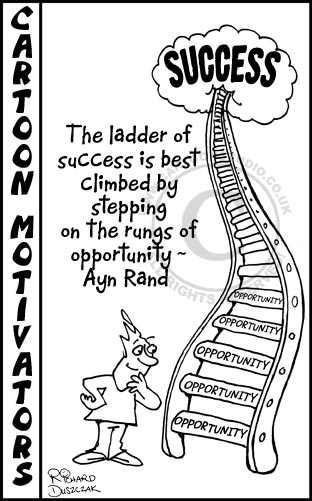 Cartoon of guy looking at ladder to success with 'opportunity' written on each rung.