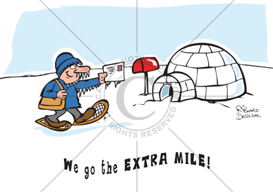 Going the extra mile cartoon, giving more than is expected of you, extra mile,