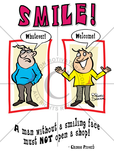 SMILE cartoon, customer service poster, customer service cartoon, motivational cartoon to look after your customers, keep smiling cartoon