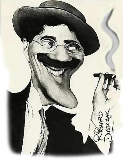 Groucho Marx caricature, Groucho Marx smoking his cigar, Groucho's inspirational quotes, motivational quote by Groucho Mark